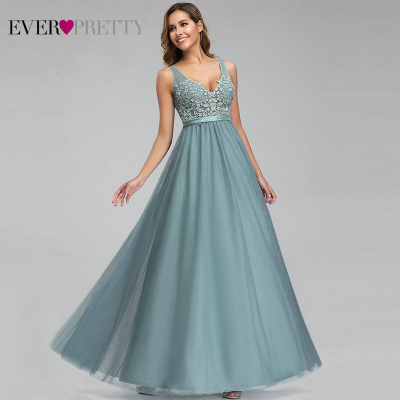 Ever Pretty Tulle Bridesmaid Dresses Women V-Neck Appliques Elegant Long Dresses For Wedding Party EP00930 Vestidos De Madrinha