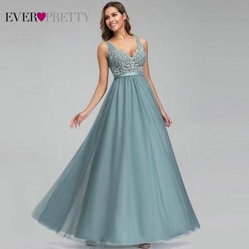 Jamais jolie Tulle robes De demoiselle d'honneur femmes col en v Appliques élégantes longues robes pour la fête De mariage EP00930 Vestidos De Madrinha