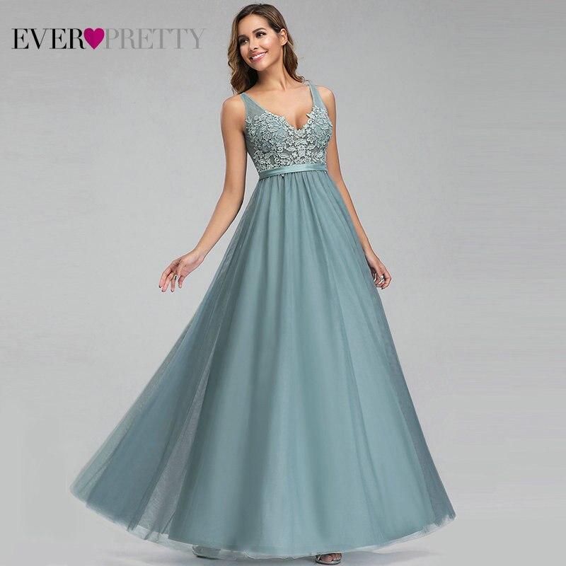 Vestidos de Festa para Madrinhas Vestimenta para Casamento de Tecido Decote em v Ever Pretty Tule Apliques Elegantes Ep00930