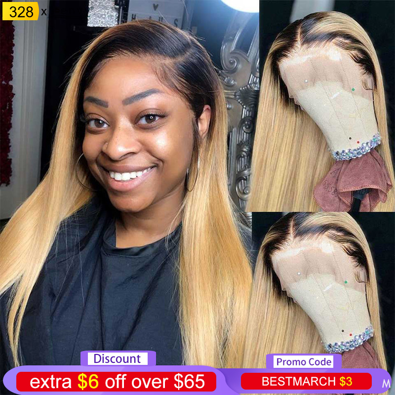Ombre Blonde Lace Front Human Hair Wigs 13X4 1B 27 Brazilian Straight Lace Front Wigs For Black Women Pre Plucked 150% Non-Remy