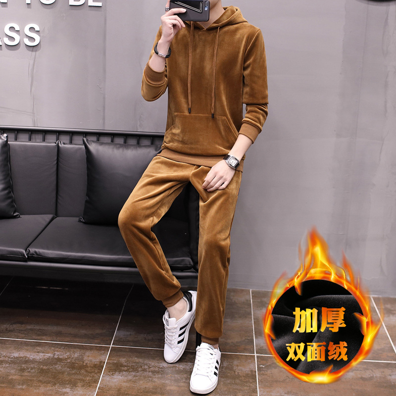 Double-sided Plush Hoodie MEN'S Suit Winter Brushed And Thick Hoodie Suit Warm Coat Hoodie Sweatpants Men's