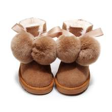 Children Sheep Wool Boots Genuine Leather Ball Fox Fur Snow Boots Shoes Cowskin Sheep Fur Boots Flat Warm Winter Shoes(China)