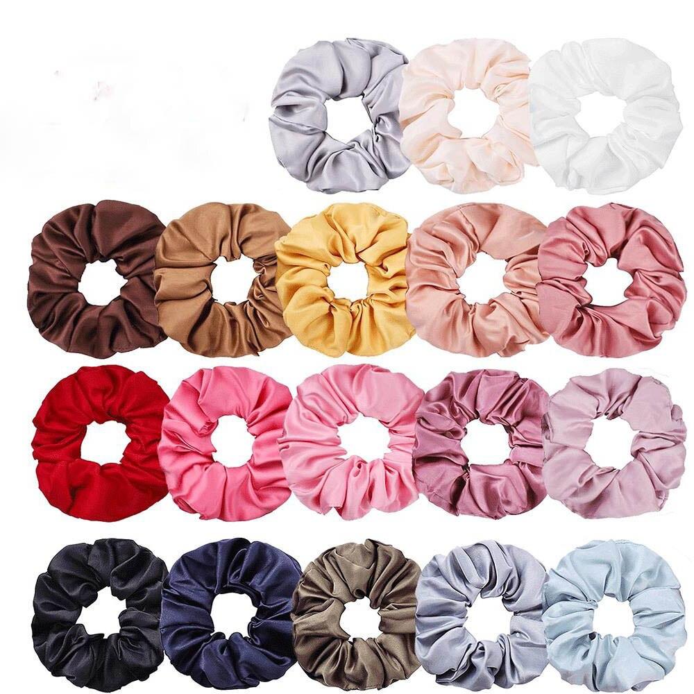 New Women Elastic Hair Bands Fashion 18 Colors Cute Beauty Girls Headwear Casual Satin Solid Scrunchie Hairbands