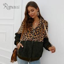 Women Warm Fleeces Hooded Coat Fashion Leopard Zipper Front Pockets Winter Furry Hoodies Jacket Casual Overcoat Outwear
