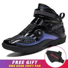 Motocross Shoes Biker-Chopper Black Touring Reflective Cruiser Pu Ankle Purple Men