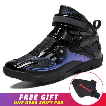 Czarne fioletowe buty motocyklowe męskie buty jeździeckie Motocross buty motocyklowe odblaskowe Biker Chopper Cruiser Touring buty do kostki tanie i dobre opinie CN (pochodzenie) ANKLE Oddychające Unisex