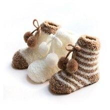 3 пары носков для малышей; хлопковые зимние теплые носки-тапочки в полоску с милым бантом; комплект Гетр для мальчиков и девочек