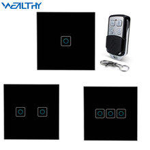 цена на 433MHz RF Remote Control Switch 1/2/3/Gang Glass Panel White/Black/Gold Wall Light Lamp LED Bulb EU/UK Remote Control Switches