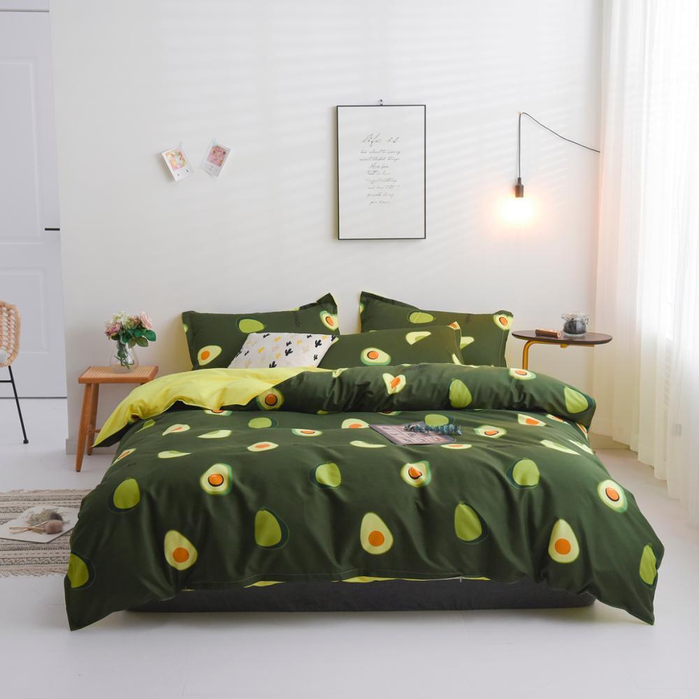 Avocado Design Duvet Cover Set Flat Bed Sheet Pillowcase Bedding Set Queen King Full Single Size 3 / 4pcs Bed Set
