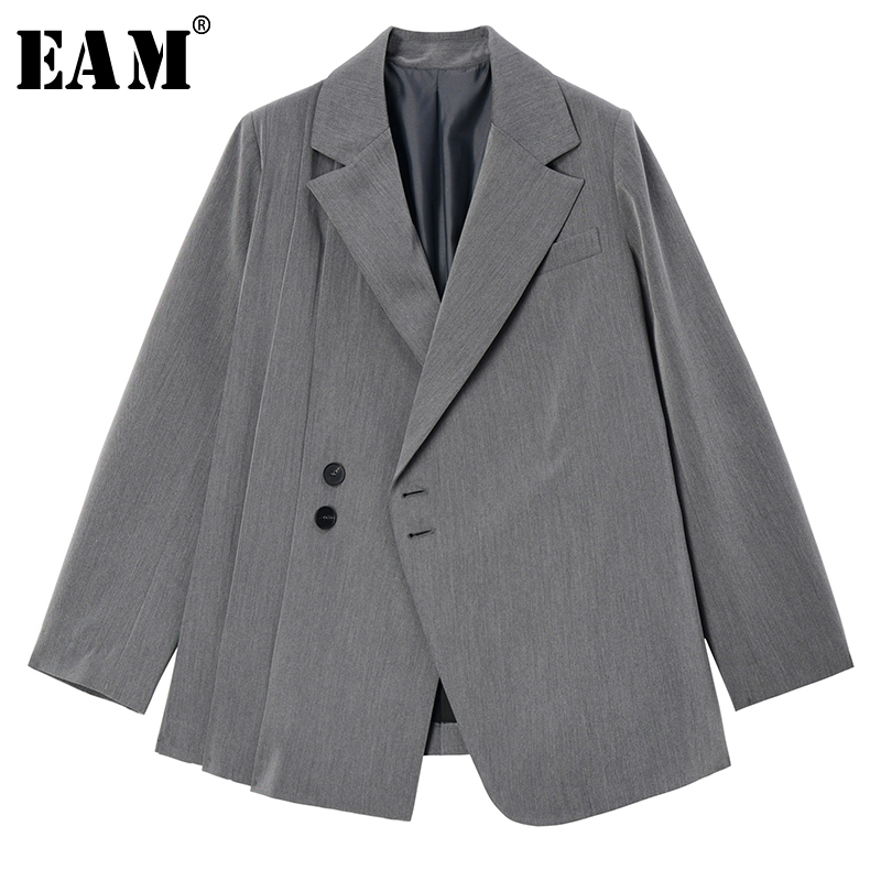 [EAM]  Women Gray Brief Pleated Split Blazer New Lapel Long Sleeve Loose Fit  Jacket Fashion Tide Spring Autumn 2020 1S638