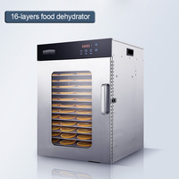 16-layers food dehydrator vegetable fruit dryer Stainless steel commercial food drying machine for seafood/tea/chicken ect. 220v