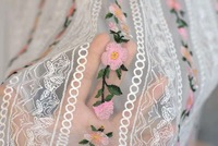 5 yards Off White Heavy Embroidered Floral ,Pink Flowers Lace Fabric Dress Lace Fabric Mixed Colors Deluxe Embroidery Fabric