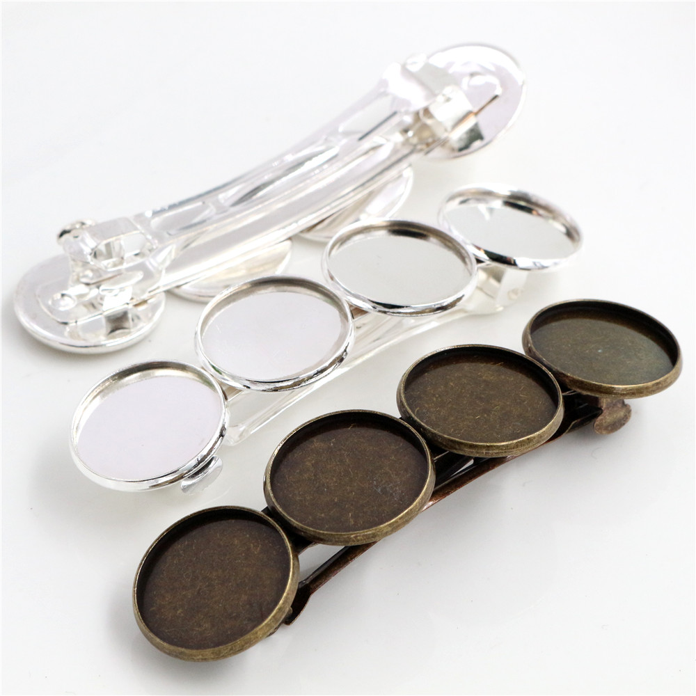 5pcs 20mm With 4 Cameo High Quality Silver Plated / Bronze Plated Copper Material Hairpin Hair Clips Hairpin Base Setting