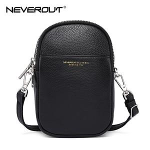Image 2 - NEVEROUT из натуральной кожи сумка для мобильного телефона через плечо для Для женщин Дамская хозяйственная сумка через плечо деньги сумка с длинным ремнем