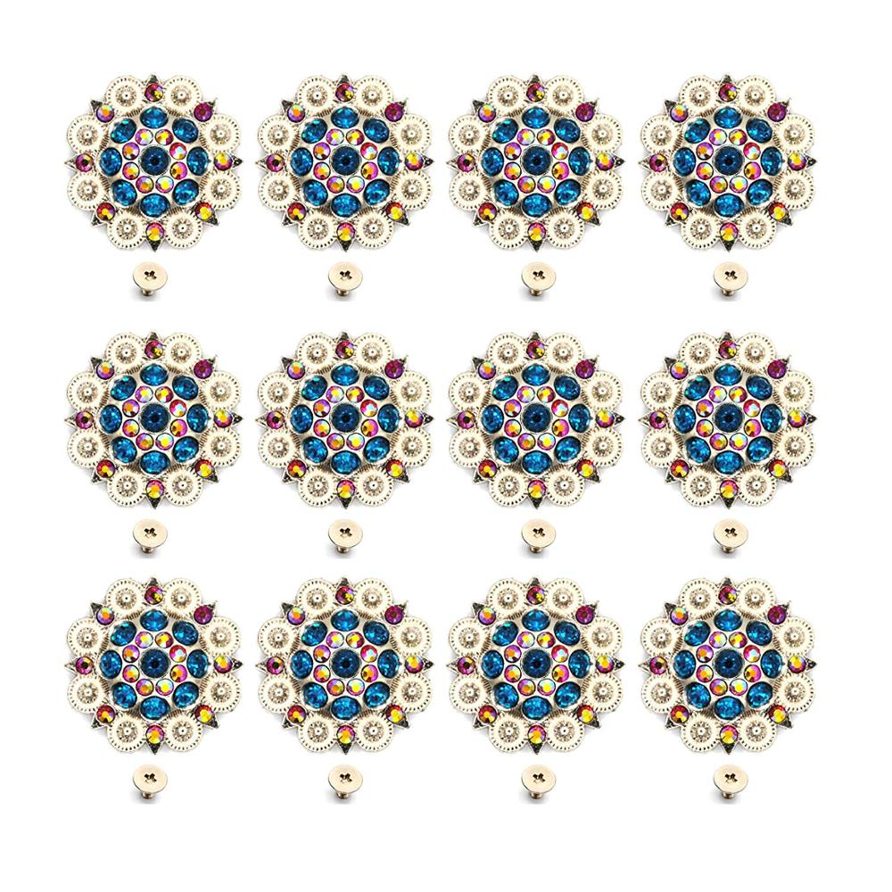 12pcs/lots Diameter 3.7CM Metal Flower Conchos White Rhinestone Decoration Belt Accessories  Retail Custom Metal Accessories