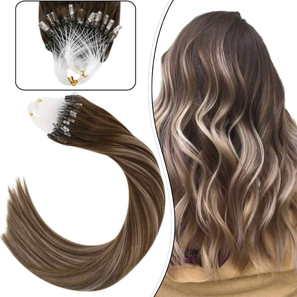 Ugeat Human Hair Extensions Remy Hair Pre-bonded Micro Loop Hair Extensions Balayage Blonde Color Hair #4/18 50g/50strands