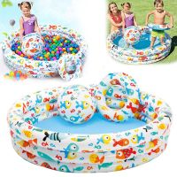 3 Pcs Kids Swimming Pool Set Swim Ring Beach Ball Outdoor Inflatable Round Water Games Basin Bathtub For Kids