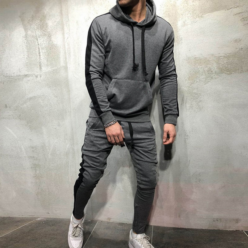 Men's Jogger Spell Hooded Sweatershiers Suit Stretch Trousers Hoodie Sweatshirt Men's Fashion Male Set Mens Clothing