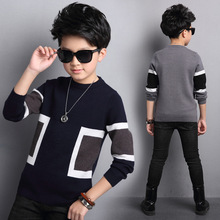 Boys Winter Velvet Sweater Kids Warm Pullovers Plush Inside Knitted Sweaters Loose Jacket 4-12T Teenage Plaid O-neck