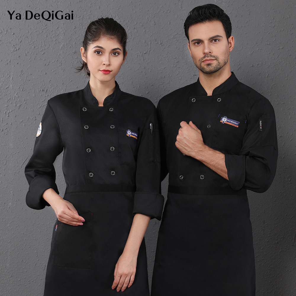 Long Sleeved Chef Uniforms Restaurant Chef Uniform Coffee Shop Waiter Workwear Hotel Kitchen Chef Coat 3 Colors M-4XL Wholesale