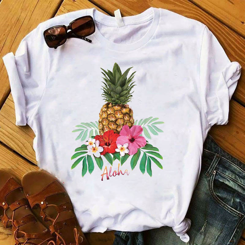 New Fashion Pineapple Graphic Print T Shirts Women Vogue Tshirts Casual Short Sleeves Tops Tees Feamle Clothes