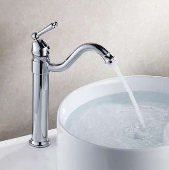 Polished Chrome Brass Kitchen Wet Bar Bathroom Vessel Sink Faucet Swivel Spout Mixer Tap Single Hole One Handle mnf210