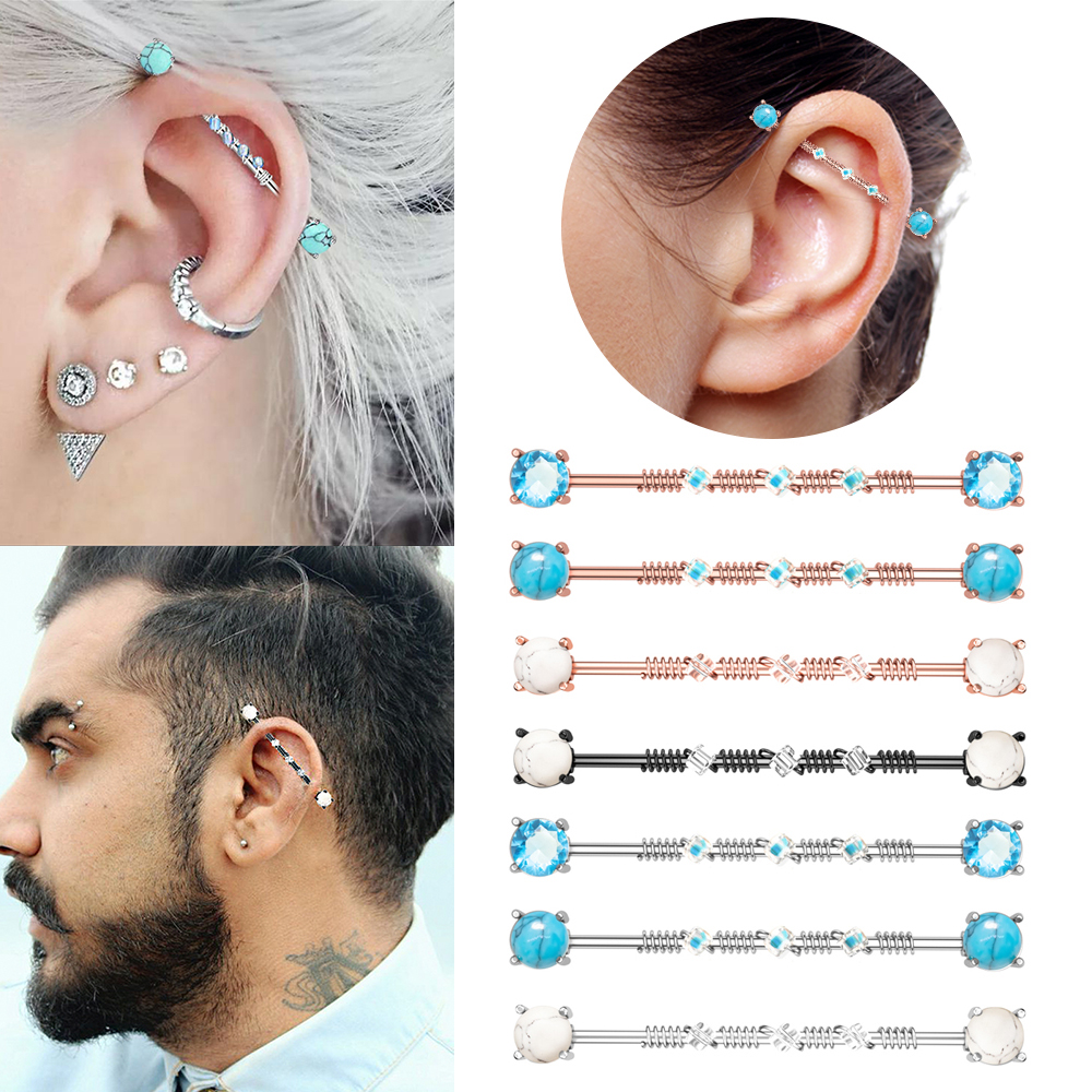 Titanium Industrial Barbell 14g Straight Barbell Piercing Scaffold Barbell CZ Industrial Piercing Jewelry Implant Grade