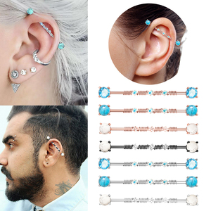 1PC 14G 316L Surgical Steel Industrial Barbell Stone Round CZ Earrings For Women Men Cartilage Helix Body Piercing Jewelry 38mm