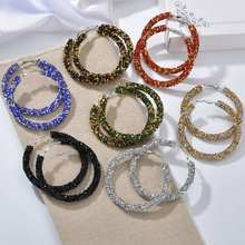 Korean fashion ear ring exaggerated big ring micro  two-color mix earrings hoop earrings