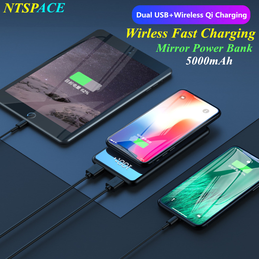 Portable 5000mAh Qi Wireless Charger Power Bank For iPhone Samsung Powerbank Dual USB Charger Wireless External Power bank