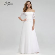 Elegant White Maxi Dresses Off The Shoulder A-Line Half Sleeve White Lace Women Long Summer Dresses Robe Longue Femme Ete 2019 off shoulder ladies sweater dresses cotton knitted 2018 summer womens mini dresses long sleeve party dress robe longue femme