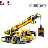665pcs Education Machine Crane Car Bricks Assemble Learning Building Blocks Legoingly For Children Toys Technic Brick