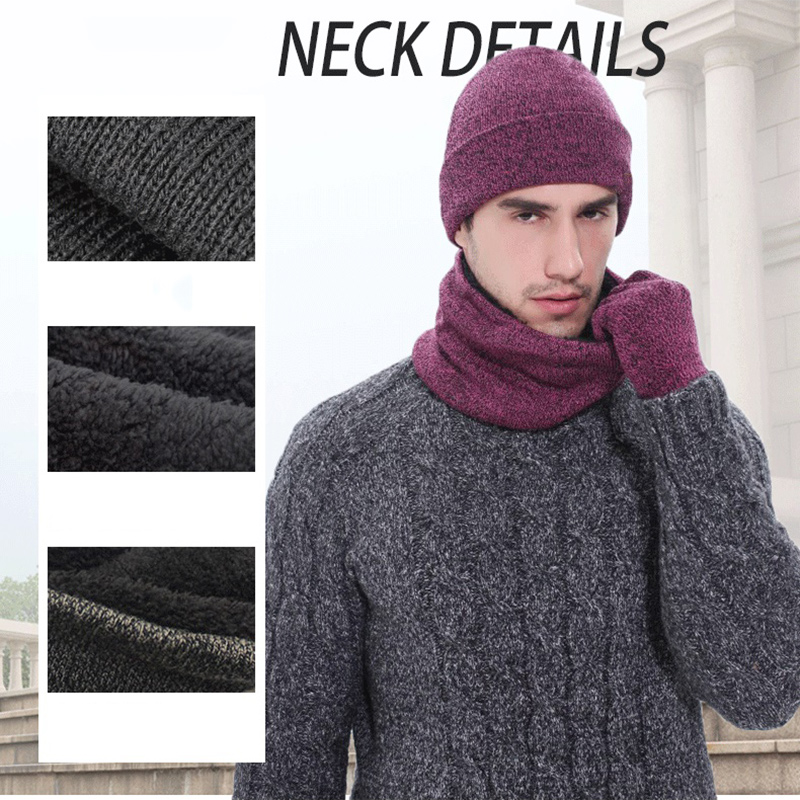 Hot 3-Piece Set Adult Mens Knitted Hat Gloves Scarf Sets 2019 Fashion Winter Thick  Warming Solid Color Clothing Accessories