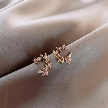 Joyería de moda de diseño coreano nuevo exquisito incrustación de cobre Color zirconio flor hoja guirnalda pendientes de mujer