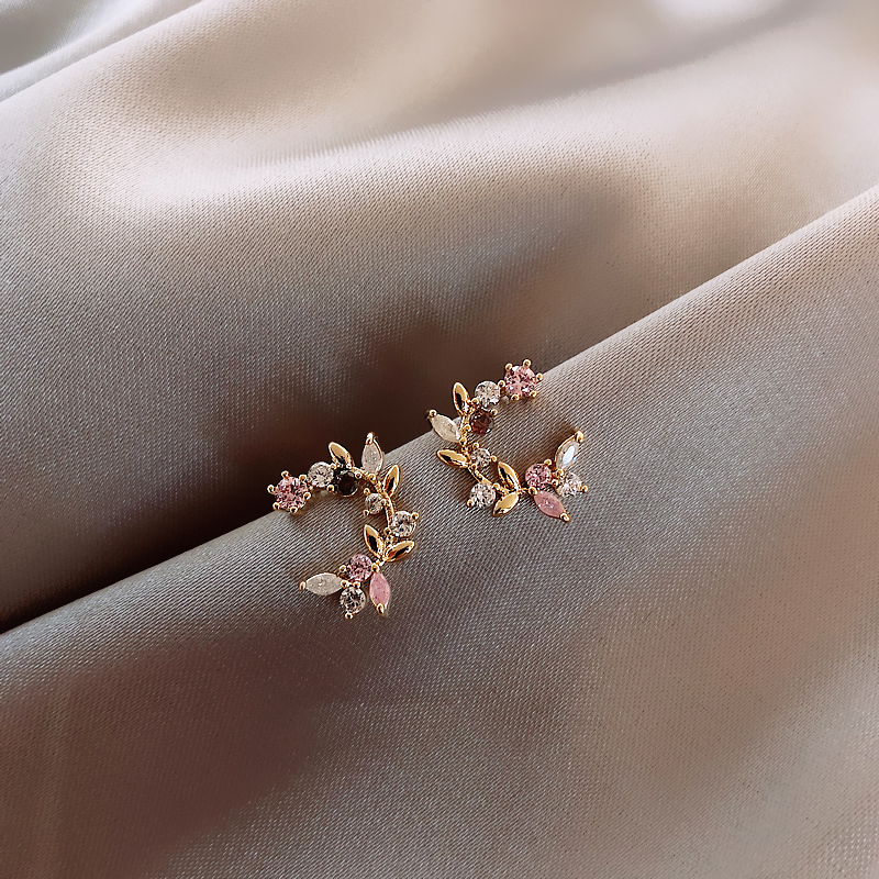 Korean New Design Fashion Jewelry Exquisite Copper Inlay Color Zircon Flower Leaf Garland Women Earrings