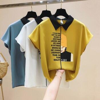 Womens For Blouses 2021 Ladies Tops Chiffon Blouse Short Blusas Feminina Shirts Batwing Sleeve Print Button Korean Clothing 0133 1