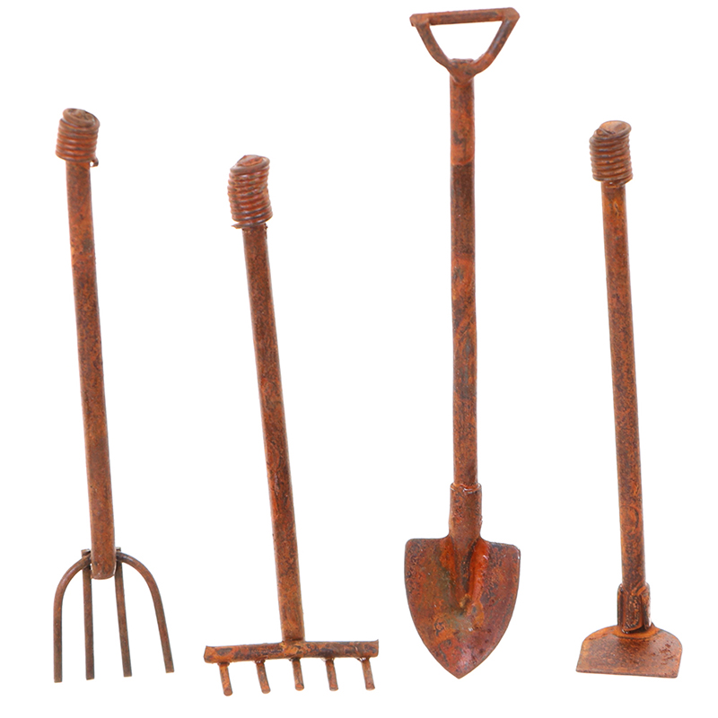 1:12 Scale Dollhouse Miniature Shovel Hoe And Pitchfork Farming Tools Fairy Garden Accessories Furniture Toys