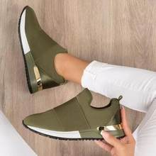 Sneakers Shoe for Women 2021 Summer Sneakers Breathable Slip On Sport Shoes Elastic Band Solid Color Ladies Vulcanized Shoes