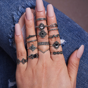 LATS New 15 Pcs/set Bohemian Retro Crystal Flower Leaves Hollow Lotus Gem Silver Women Ring Set 2020 Female Bohemian Jewelry 2