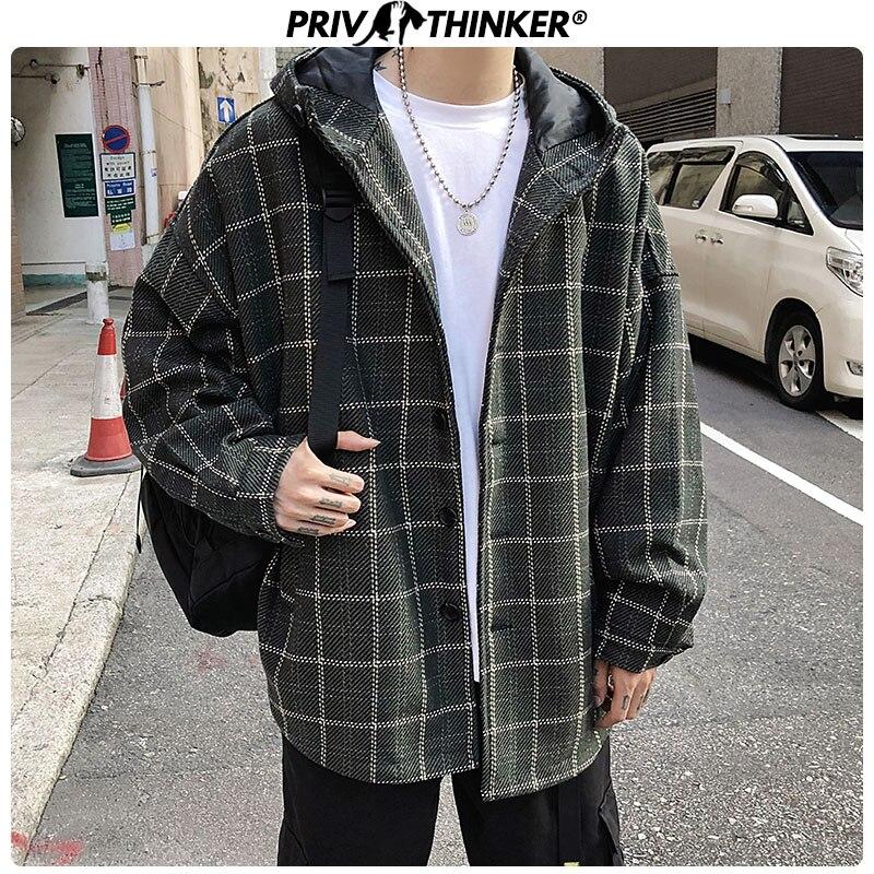 Privathinker Men's 2019 Warm Winter Wool Coat Men Fashion Hooded Thicken Blends Coats Male Loose Plaid Winter Wool Coats 5XL