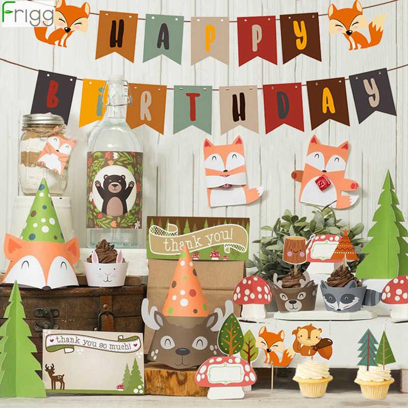 Frigg Woodland hayvanlar parti Jungle Safari doğum günü partisi dekor Woodland yaratıklar orman hayvan orman doğum günü parti malzemeleri