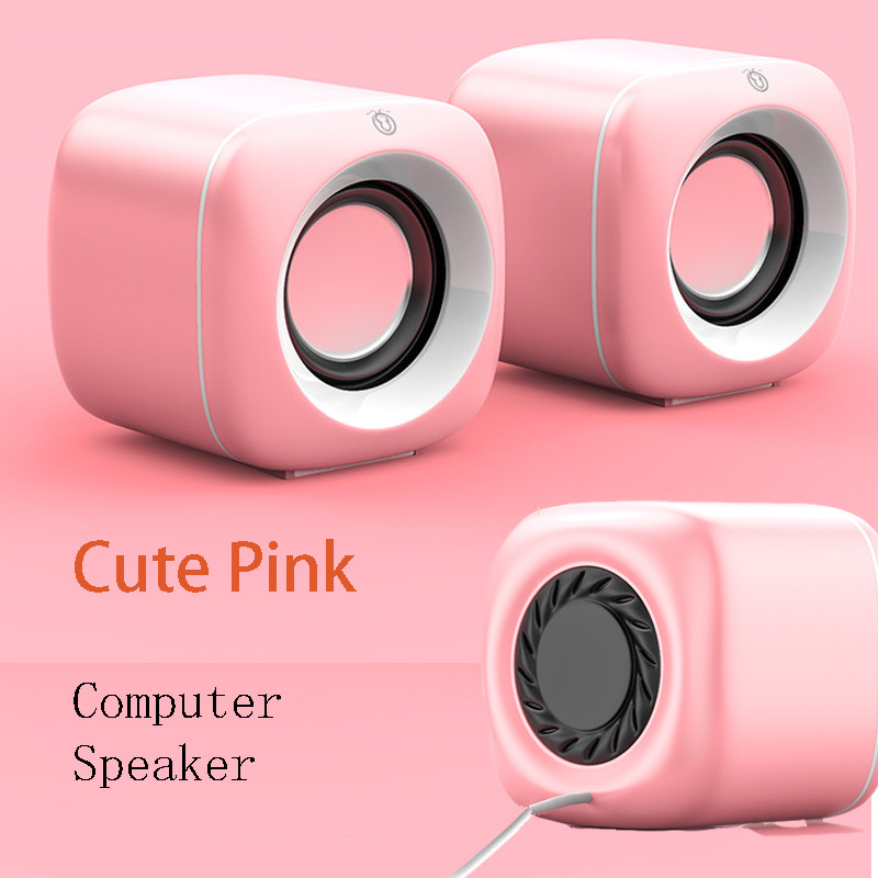 Pink Computer Speakers for Laptop PC Cute Subwoofer Column Surround Sound Music Player Audio Loudspeaker Home Theater Speaker