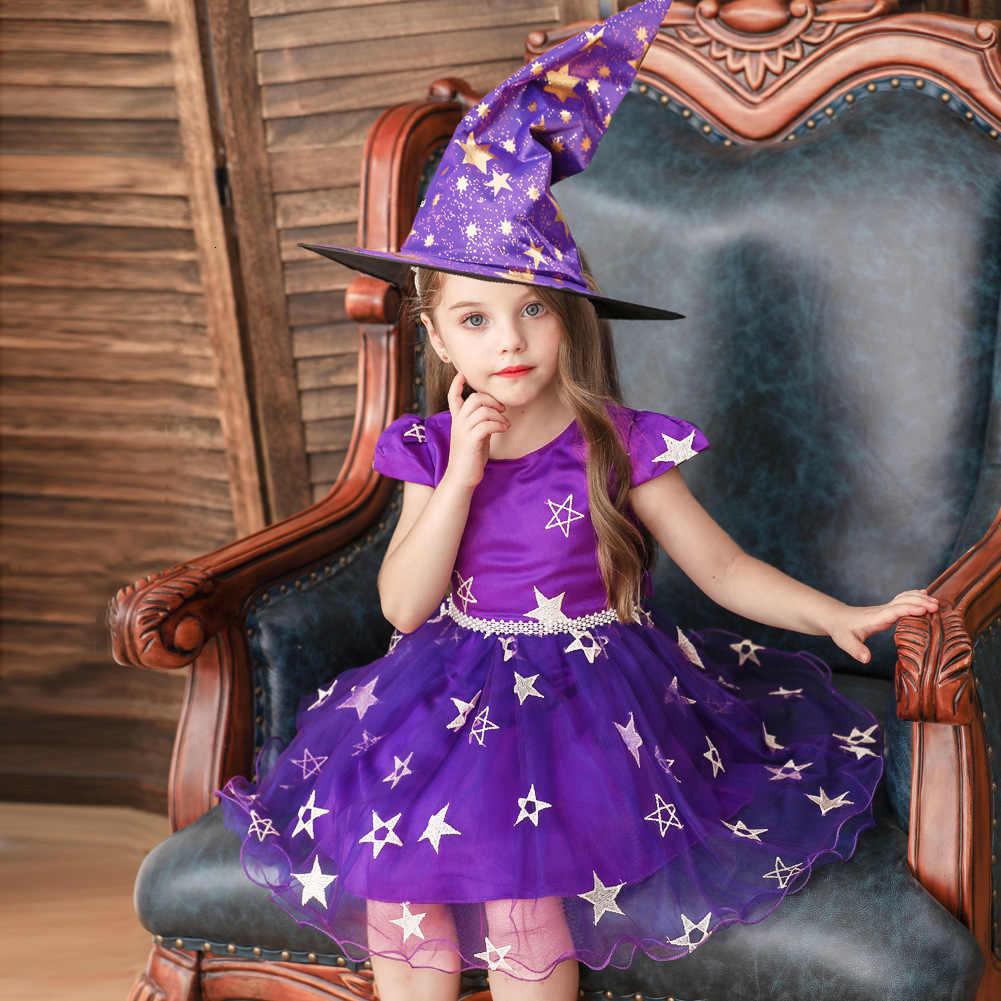 BacklakeGirls Kinderen Halloween Sterren Lovertjes Ronde Hals Korte Mouwen EEN Lijn Communie Jurk Cosplay Jurk Met Hoeden