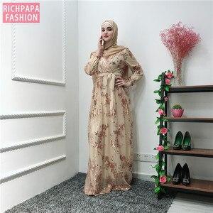 Image 1 - Ramadan เลื่อมลูกไม้ Abaya ดูไบตุรกีอิสลามมุสลิม Hijab Kaftan Abayas สำหรับผู้หญิง Jilbab Caftan เสื้อผ้ากาตาร์ Elbise Robe