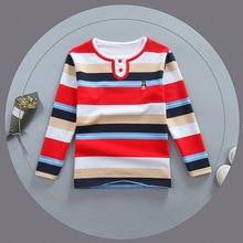 Spring Fall Children T-shirt 2018 Long Sleeves Boys Shirt Cotton O-neck Tops Striped Casual Teenage School Uniform Clothes