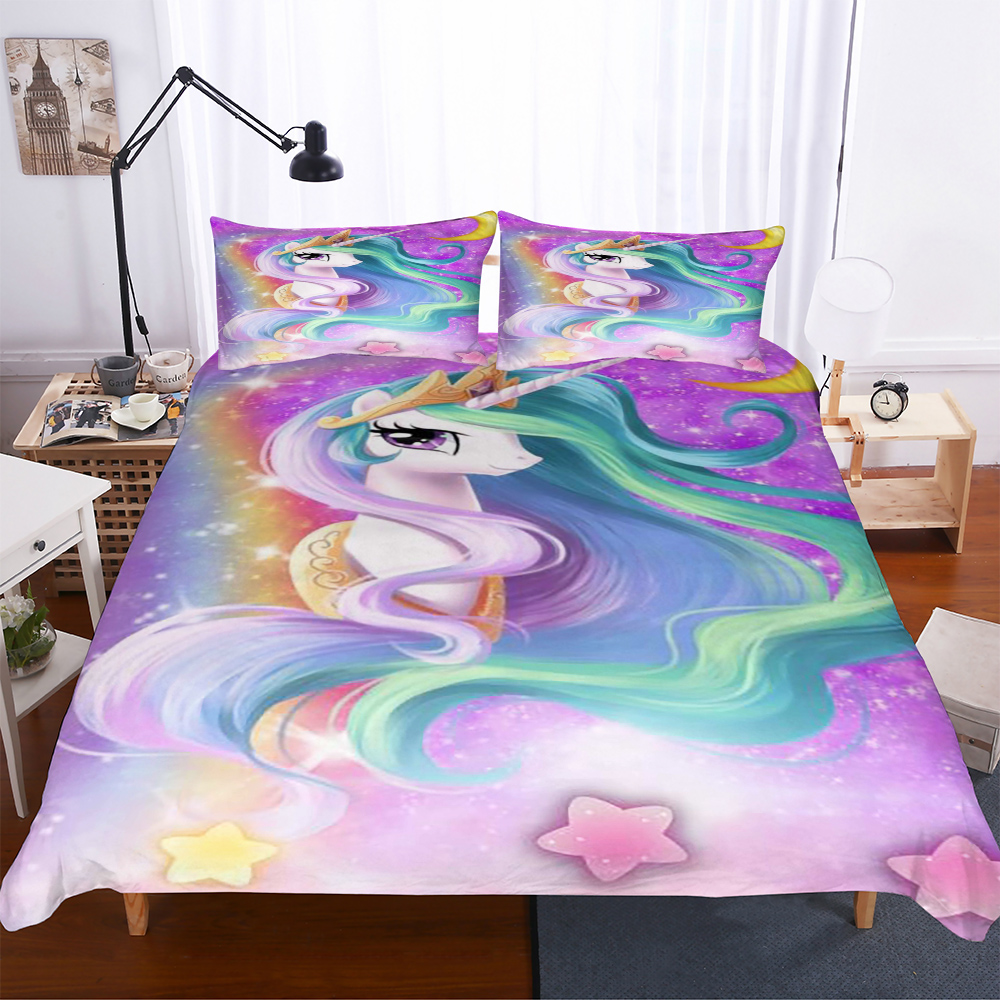 pretty unicorn star duvet cover set with pillowcase single double bedding set girls skin friendly bedspreads bed comforter sets