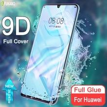 Gelée pleine colle verre trempé incurvé pour Huawei P30 Pro P40 Plus Protection d'écran pour Mate 20 30 Pro Honor Nova 7 30 Pro Plus