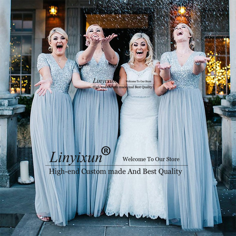 Sexy V Neck Dusty Blue Long Bridesmaid Dresses Plus Size 2019 Short Sleeve Sequins Top BlingBling Wedding Party Dress
