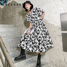 Ruched Dress Neck-Puff-Sleeve Square Summer Clothes Floral-Print White Vintage Long Women