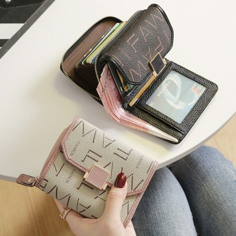2020 New Fashion Korean Version Of Small Wallet Women's Short Leather Women's Leather Multi-card Wallet Wallet Pocket Change